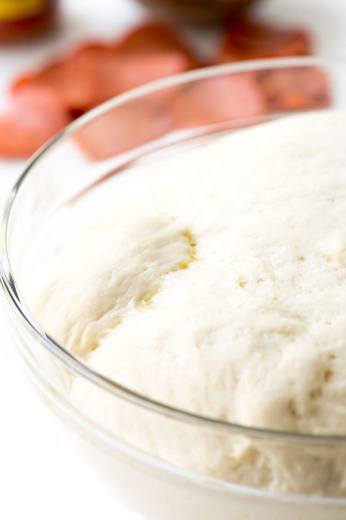 Pizza dough perfect for Friday night pizza night, or for freezing for later