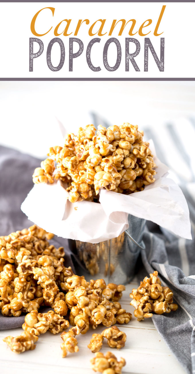 caramel popcorn that is made on the stove top and is so delicious
