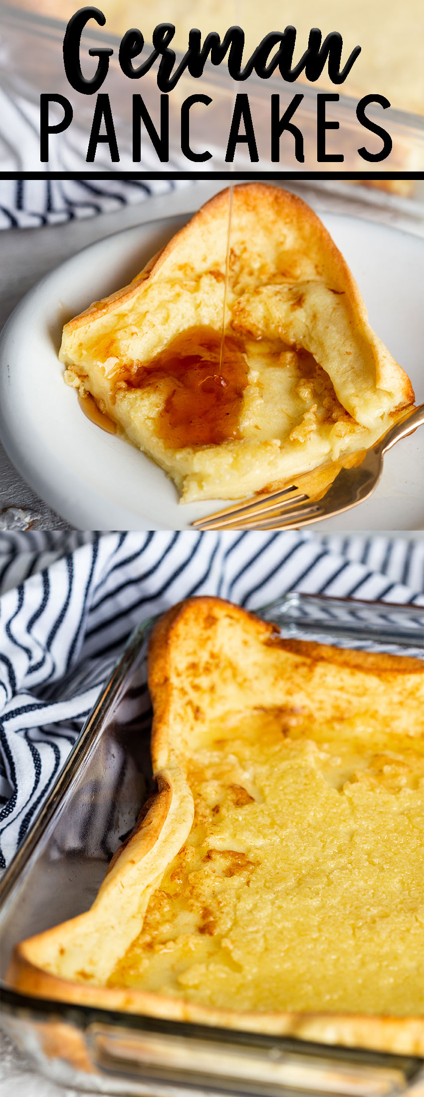 German Pacakes or dutch babies, or puff pancakes that are a batter that is mixed up, and baked in the oven.
