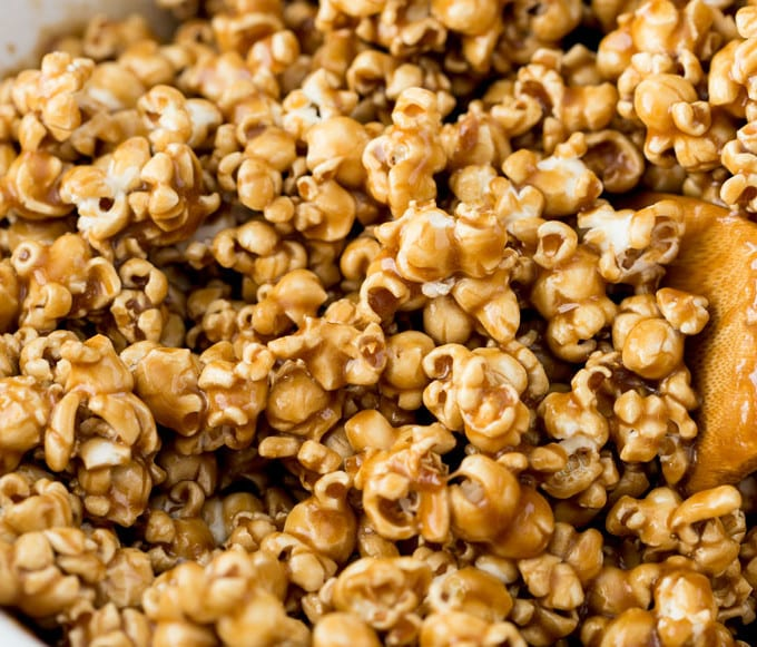 Caramel corn made with brown sugar
