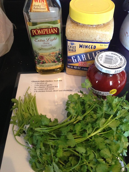 chili cilantro chicken kabob ingredients