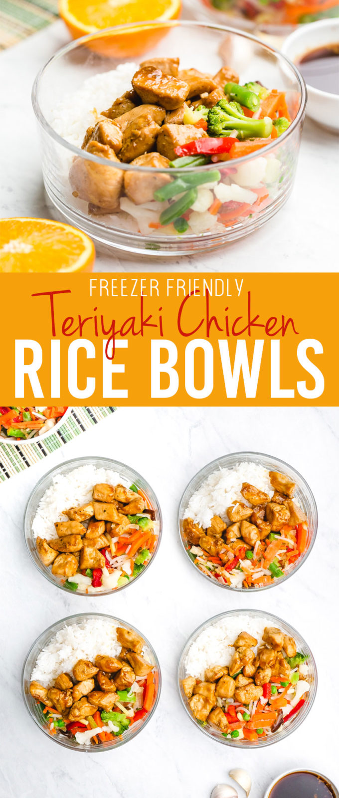Freezer friendly teriyaki chicken rice bowls are a great plan ahead meal or grab and go meal solution