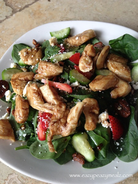 This is a delightful spinach salad with strawberries, chicken, and ...