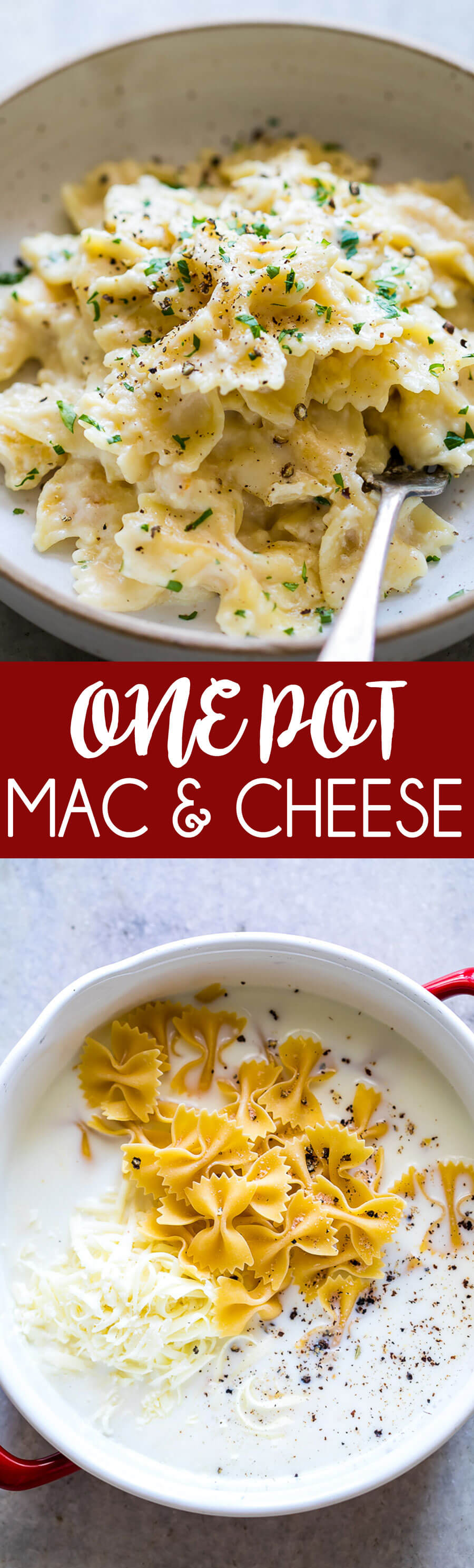 Easy one pot mac and cheese with bowtie pasta, this is one of the easiest and tastiest