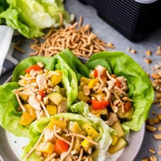 Thai Peanut Lettuce Wraps, asian inspired lettuce wraps with a fun Thai twist