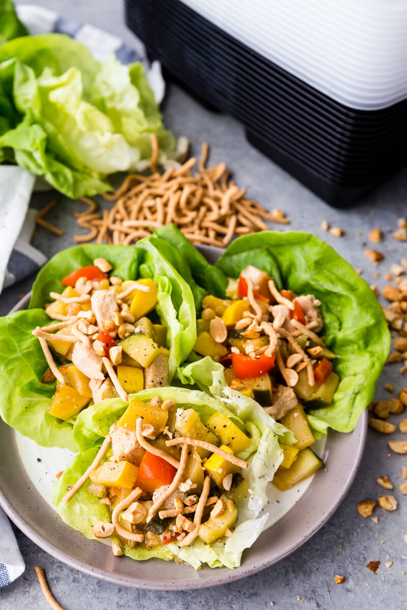 Thai Peanut Lettuce Wraps, asian inspired lettuce wraps with a fun Thai twist