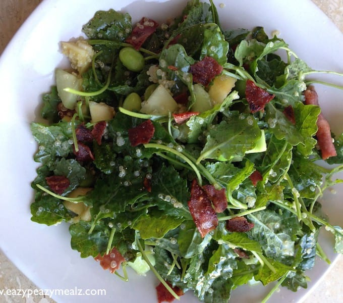 Super Green Kale Salad- Apple, Bacon, Quinoa, Edamame Salad