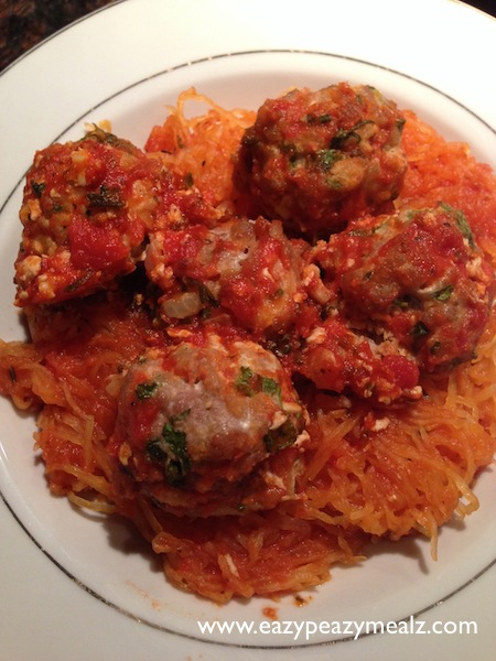 Paleo Spaghetti Squash and Turkey Meatballs
