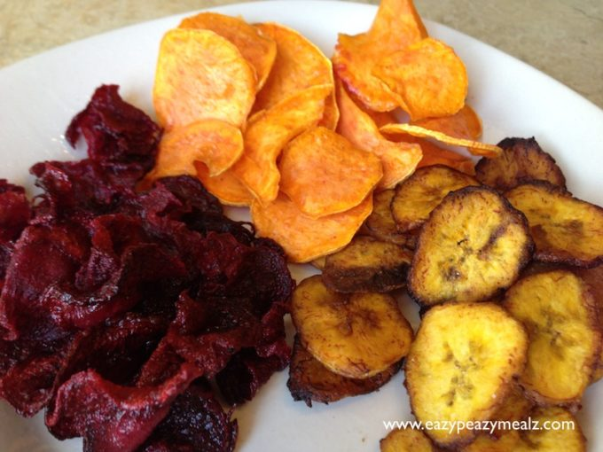 plantain, yam, and beet chips
