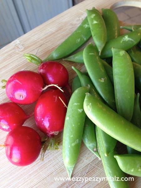 radishes and snow peas