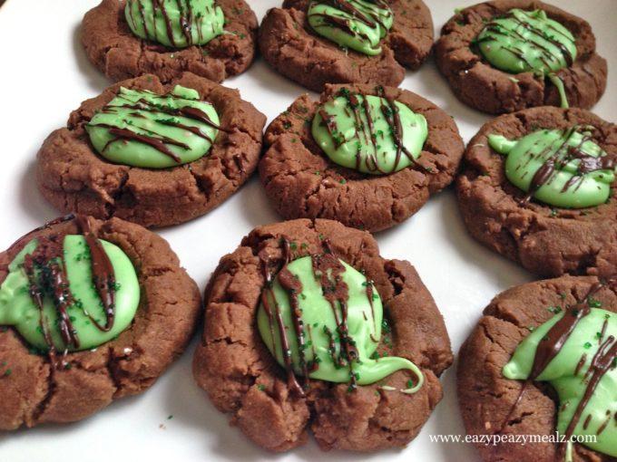 Chocolate Mint Thumbprint Cookies - Eazy Peazy Mealz