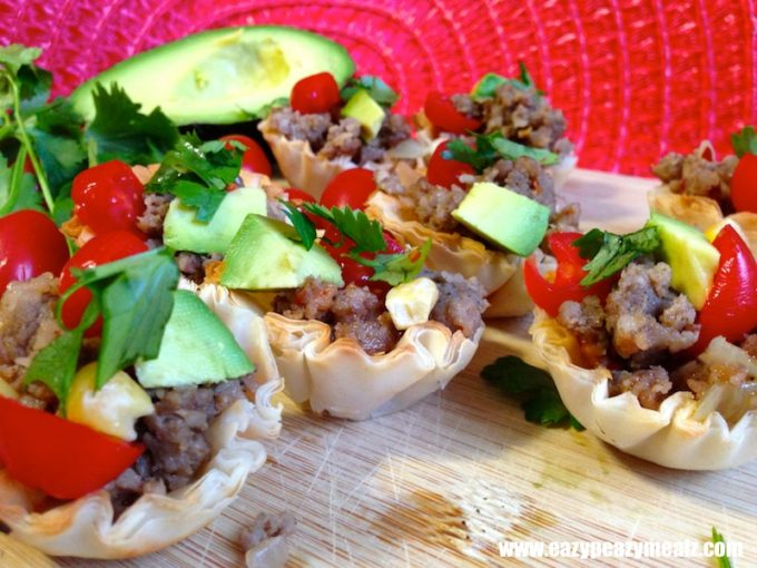 Super bowl mexi cups easy peasy meals for Phyllo dough recipes appetizers indian