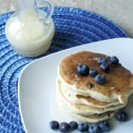 Blueberry pancakes with hot buttermilk syrup