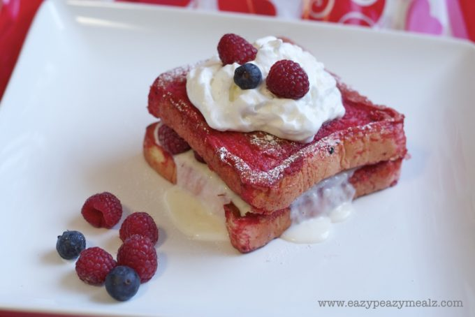 Valentine's Day Red Velvet Stuffed French Toast with Berries