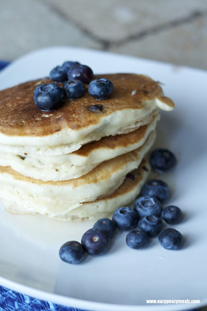 blueberries with hot buttermilk syrup pancakes