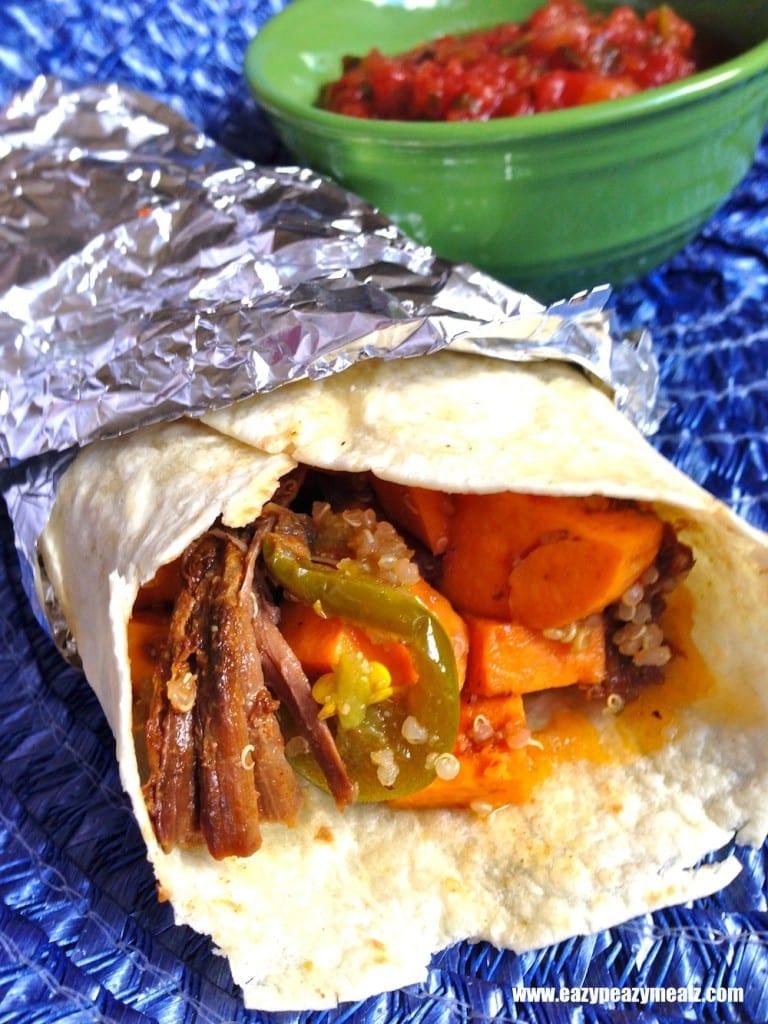 BBQ Pork, sweet potato, quinoa burrito