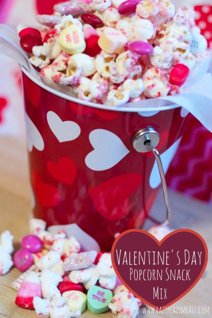 valentine's day, popcorn, white chocolate, snack mix