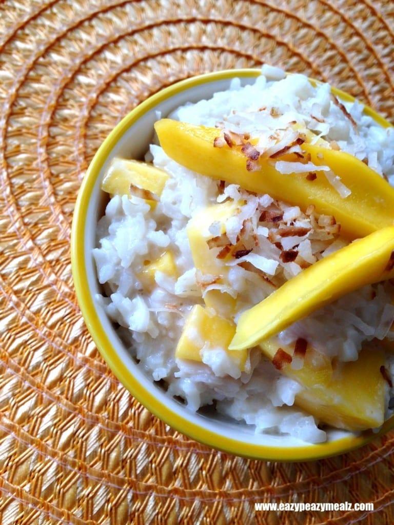 mango, toasted coconut rice pudding