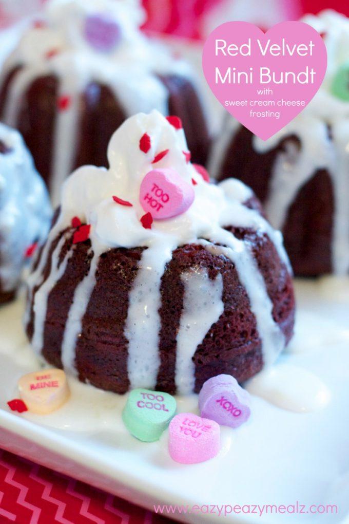 red velvet mini bundt cakes for Valentine's Day