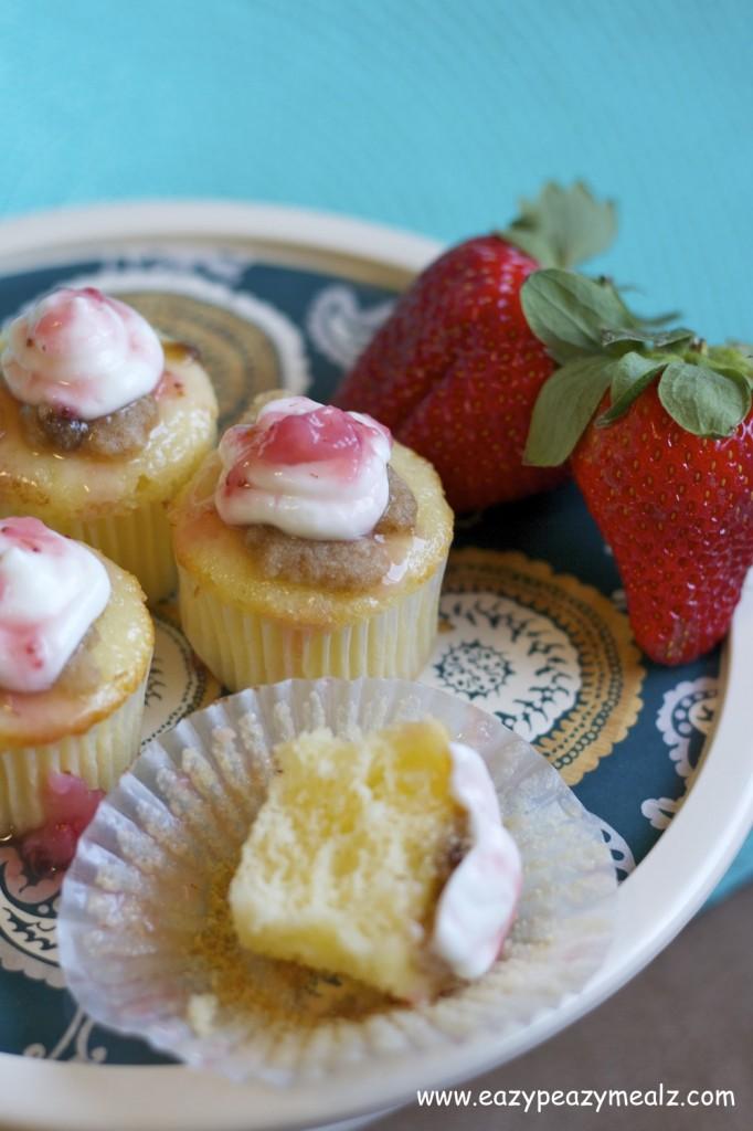 Greek Yogurt Lemon Cupcakes with strawberry glaze