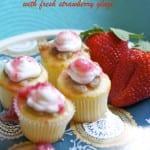 Greek yogurt lemon cupcakes with fresh strawberry glaze