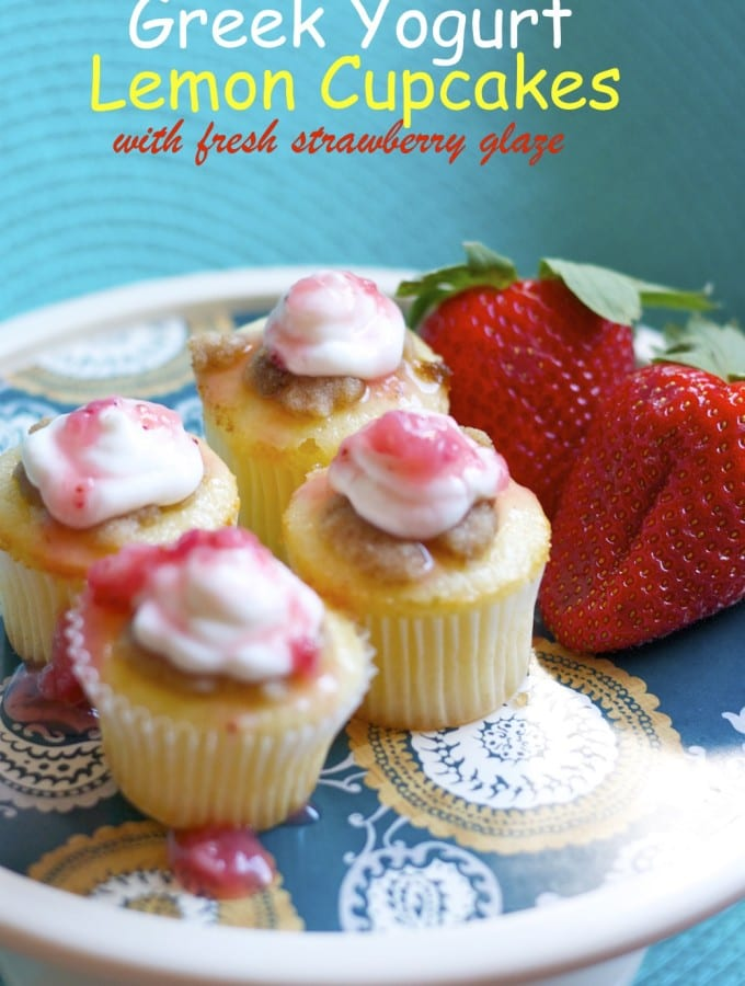 Greek Yogurt Lemon Cupcakes with fresh strawberry glaze