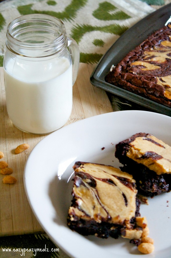 Peanut Butter Cheesecake Swirl Brownies - Eazy Peazy Mealz