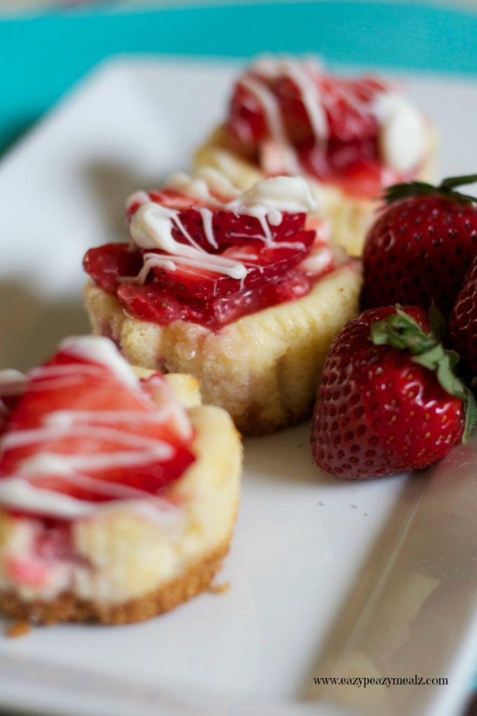 White Chocolate Strawberry Mini Cheesecake - Easy Peasy Meals