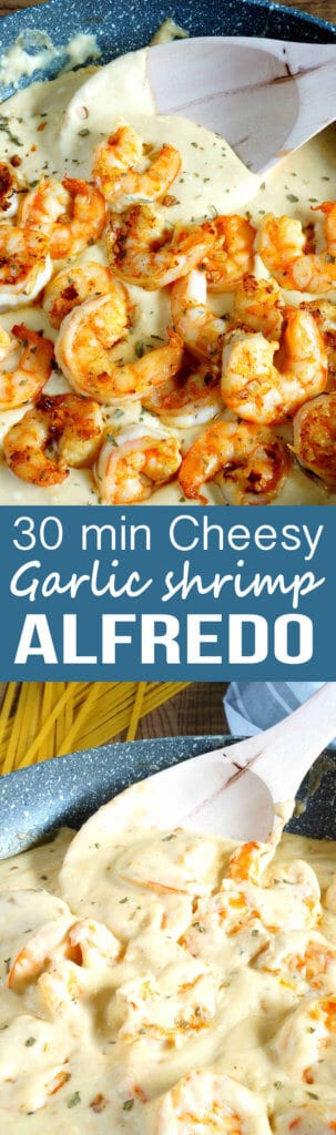 Shrimp Alfredo: A cheesy, garlick-y delicious pasta packed with shrimp, and an easy homemade Alfredo. Great weeknight dinner!