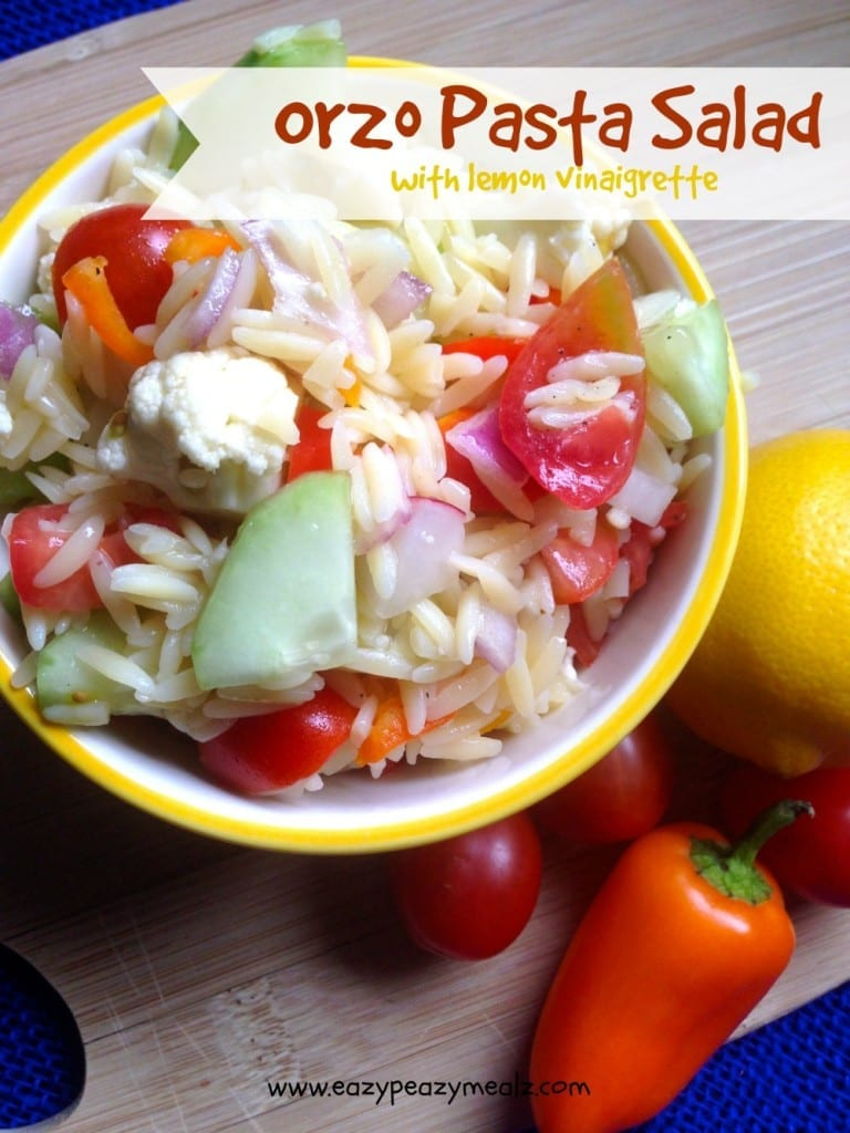 orzo pasta salad with lemon vinaigrette