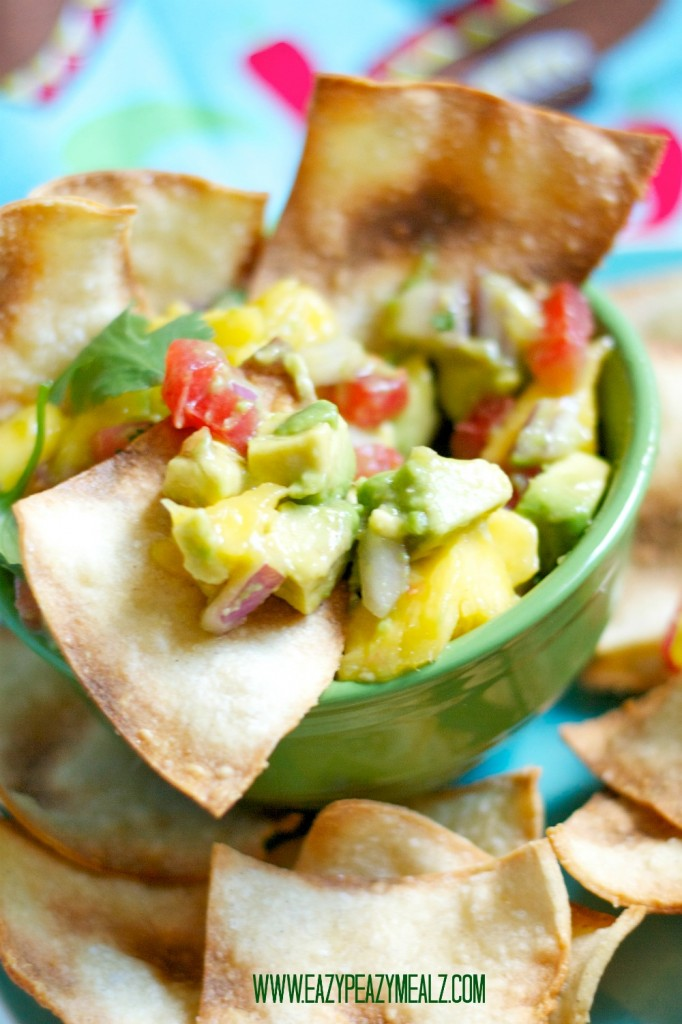 corn chips and mango salsa