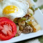 hungry man's sausage and pepper breakfast hash