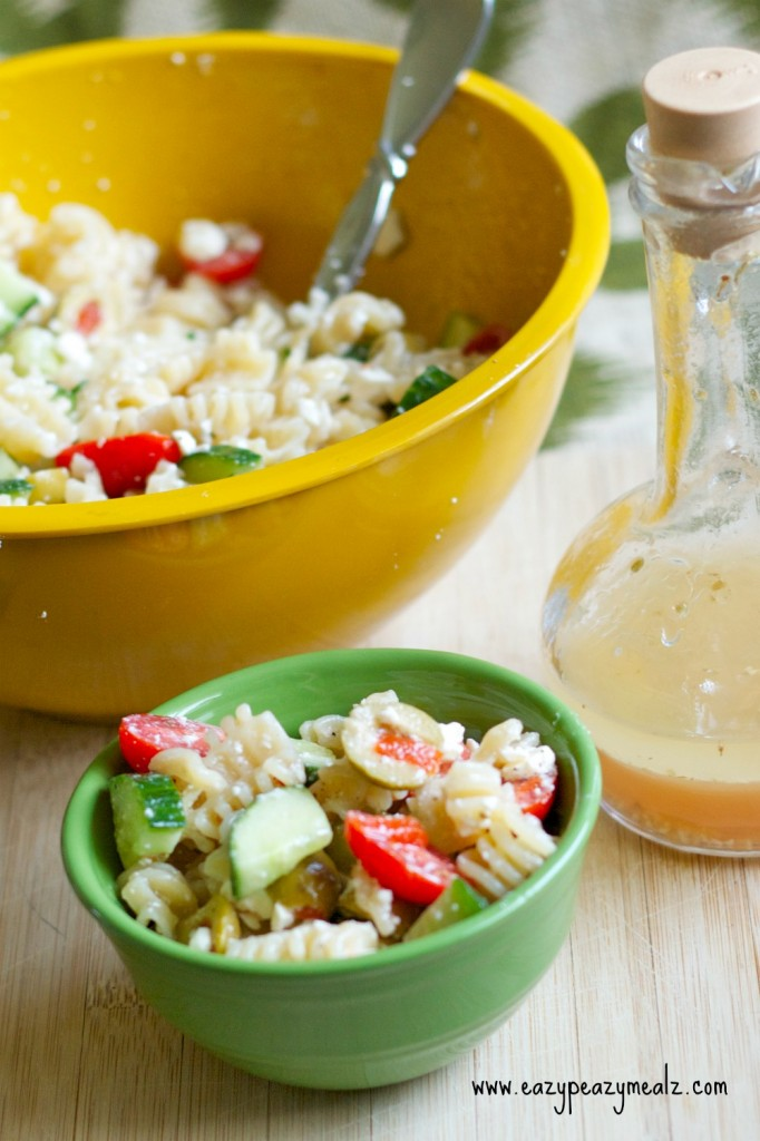 pasta salad, greek dressing