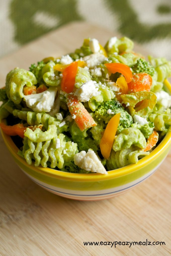 Broccoli Spinach Pesto Pasta Salad - Eazy Peazy Mealz