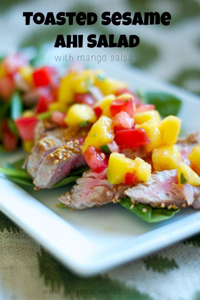 toasted sesame ahi salad with mango salsa