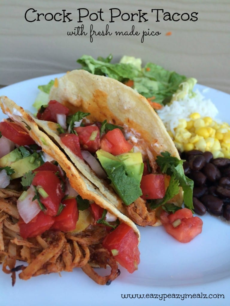 crock pot pork tacos with fresh pico