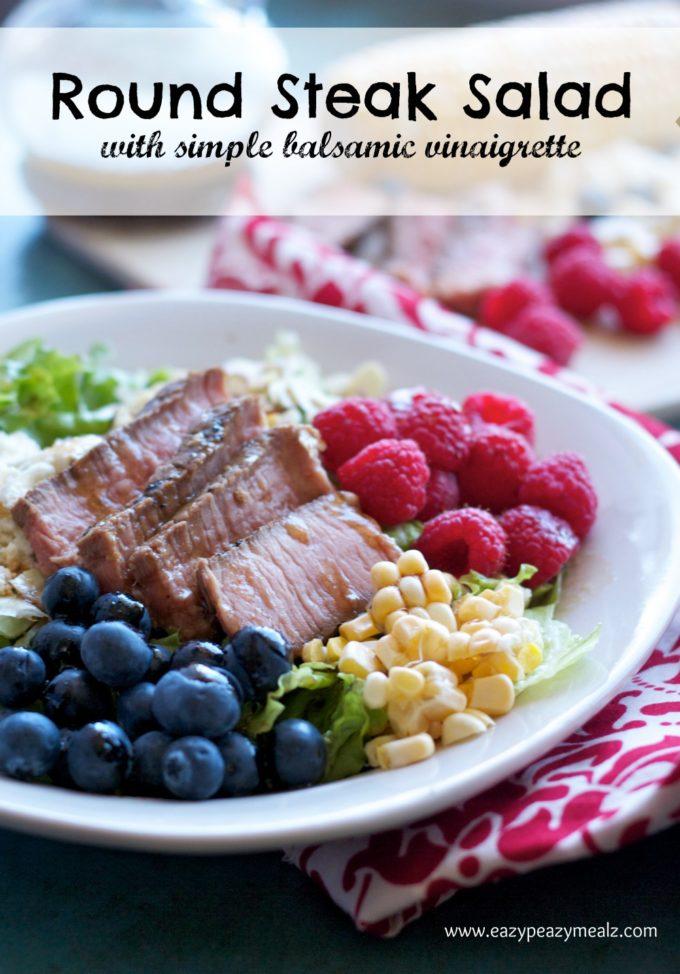 round steak saladwith vinaigrette