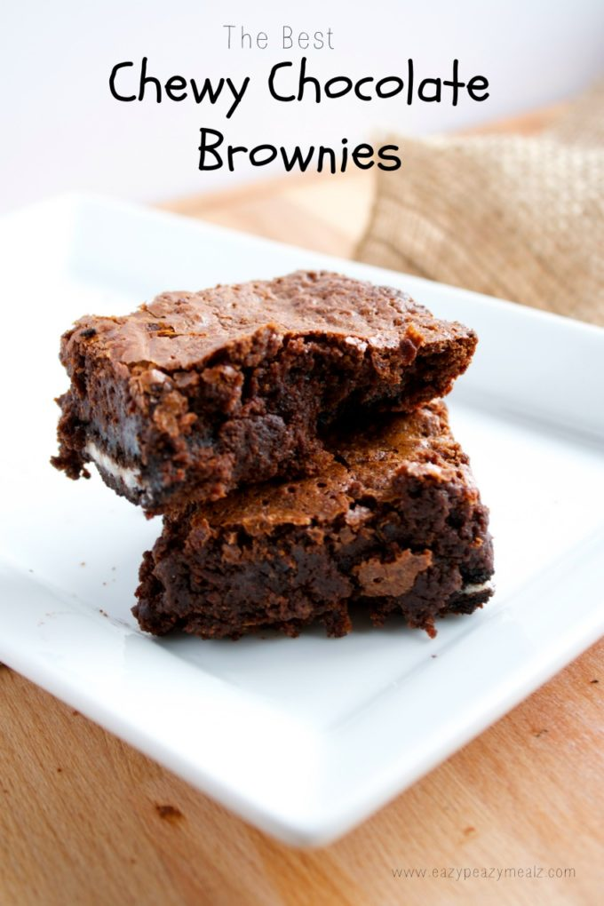 Thick, moist, chewy chocolate brownies, the perfect indulgence, and ...