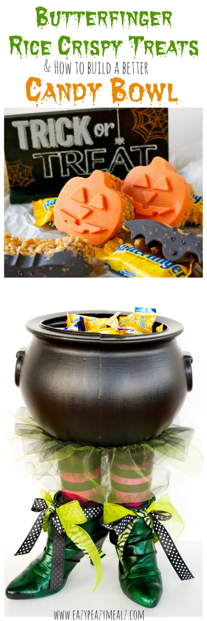 Butterfinger Halloween Rice Crispy Treats & How to Build A Better Candy Bowl