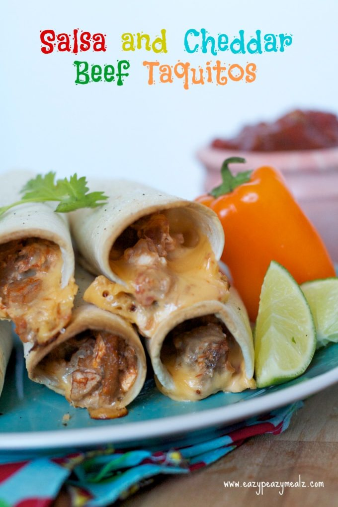 Salsa and cheddar beef taquitos