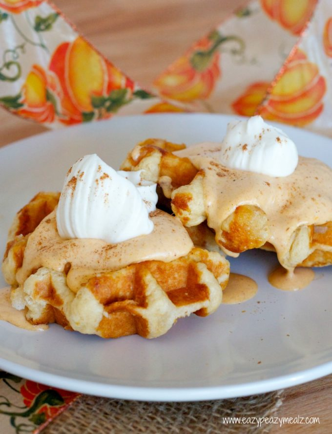 Pumpkin Pie Spiced Waffles Recipe — Dishmaps