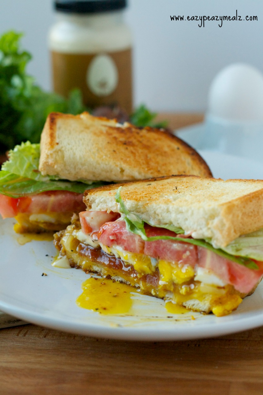 BELT with Cheese, bacon, egg, lettuce, and tomato sandwich, a hearty sandwich