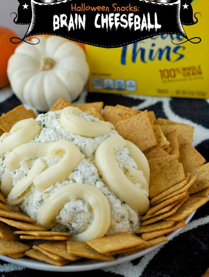 halloween snacks, brain cheeseball, cheese ball