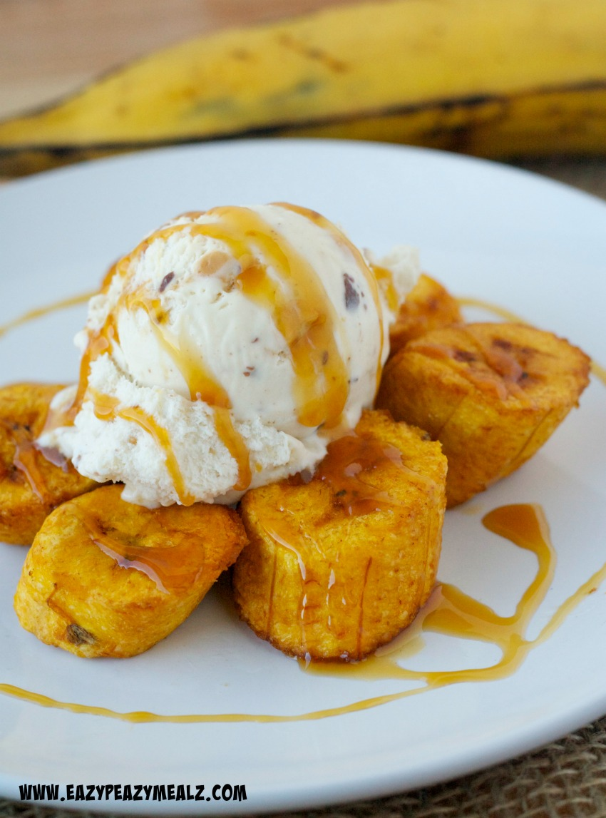 Happy Monkey: Fried Plantains with Caramel Ice Cream - Eazy Peazy Mealz