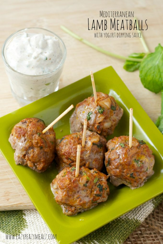 Mediterranean Lamb Meatballs with Yogurt Dipping Sauce