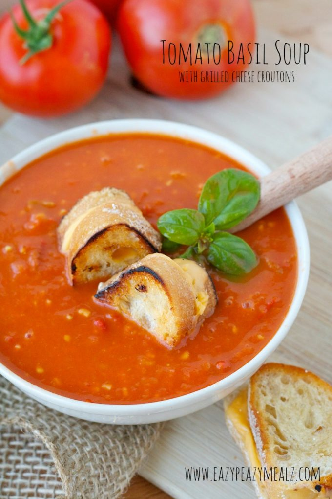 Grilled Tomato Soup With Grilled Cheese Croutons Recipes — Dishmaps