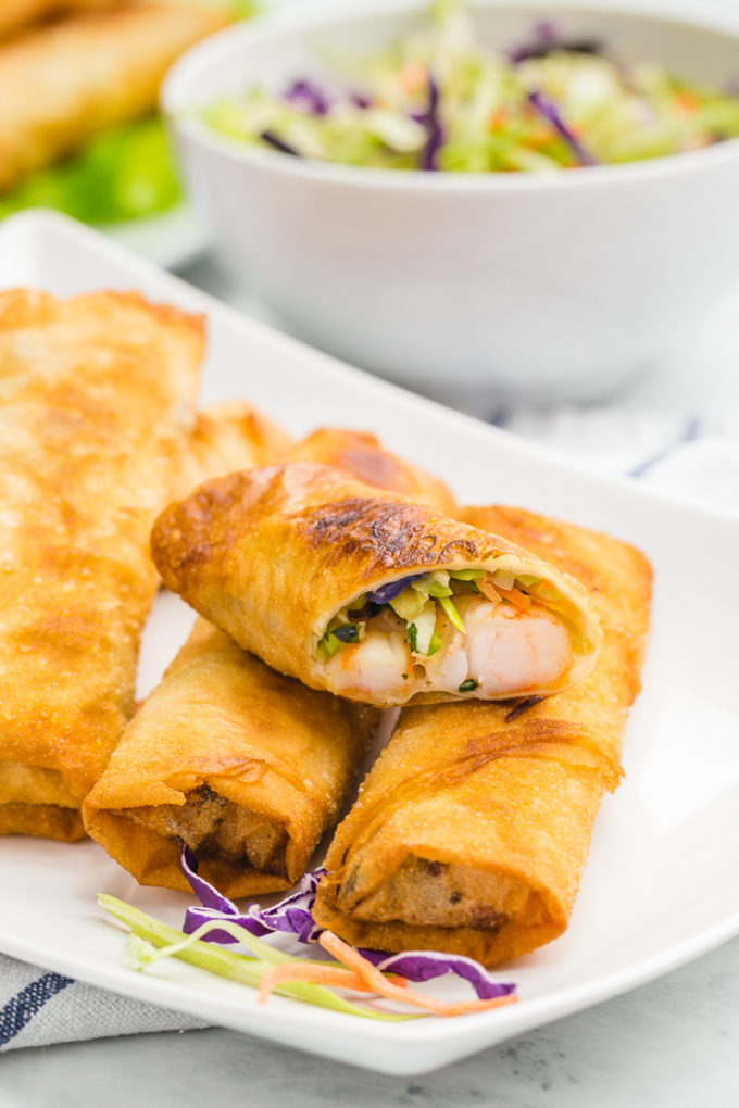 Shrimp and veggie egg rolls that can be baked or fried for perfect results every time