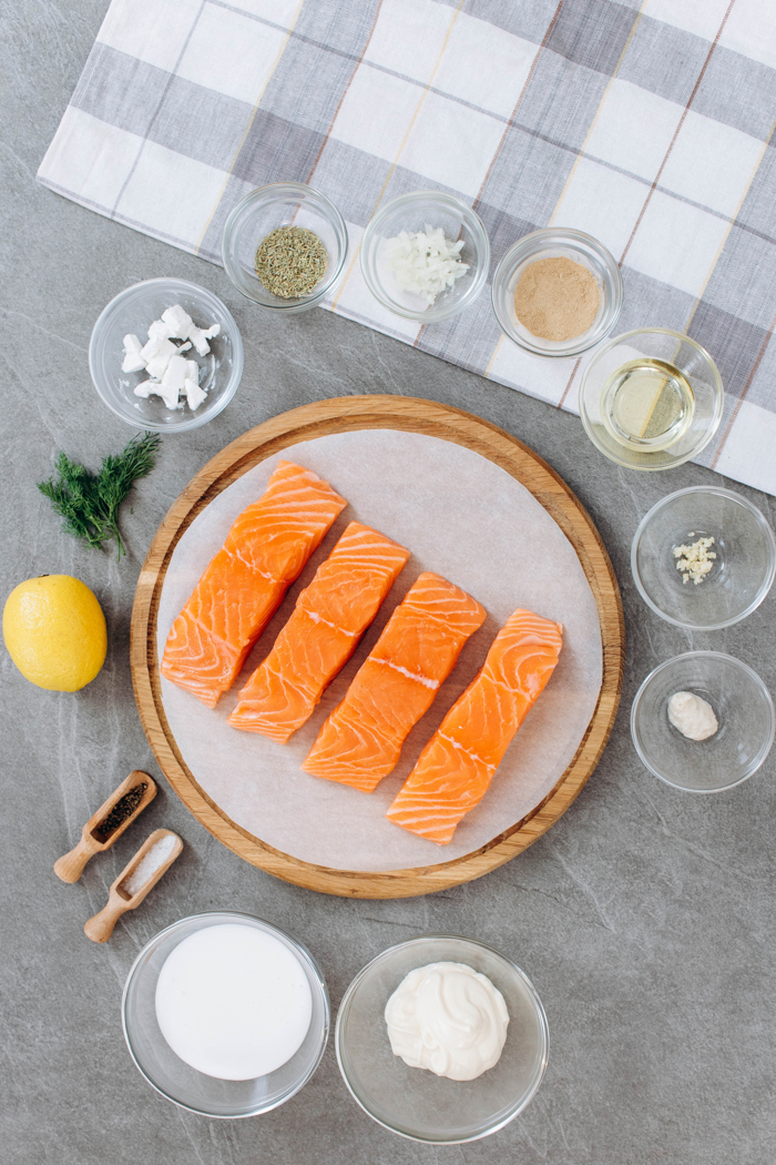 all the ingredients you need to make a pan seared salmon with creamy dill sauce for salmon