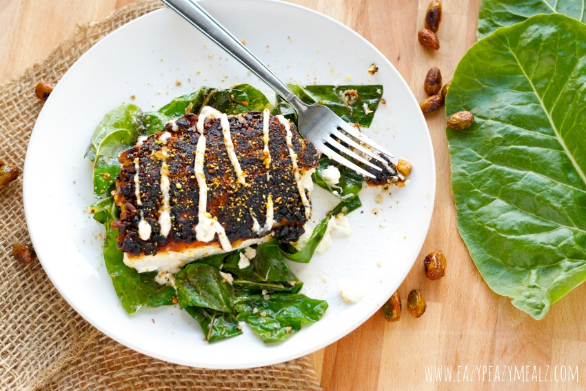Pistachio halibut over greens