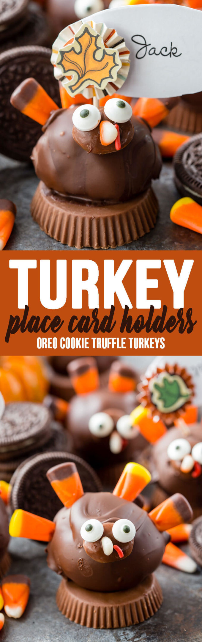 OREO Turkey Truffles turned into the cutest name card or place card holders for your Thanksgiving table.